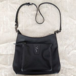 Simply Vera Black Leather Shoulder Bag Purse